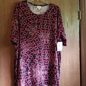NWT Gray/red/black/white floral Irma